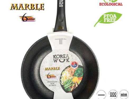 Poêle wok avec indicateur de chauffage OURSSON MARBLE KWW2622MR, 26 cm
