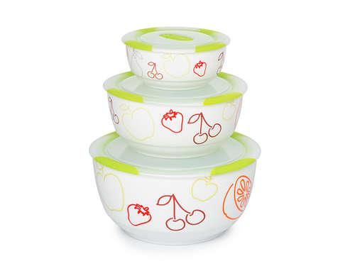 Set de bols en céramique Clip Fresh OURSSON BS2981RC/GA, 3 pcs