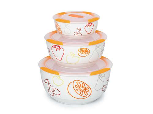 Set de bols en céramique Clip Fresh OURSSON BS2981RC/OR, 3 pcs